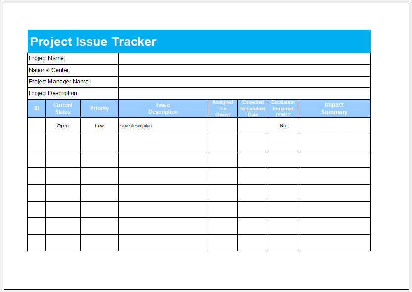 Project issue tracker template