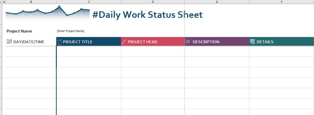 Daily work status sheet